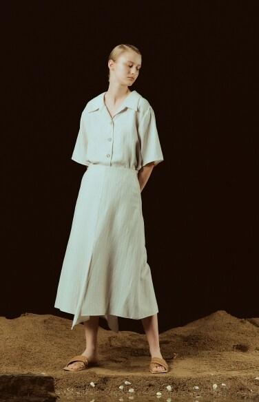 pin stripe flare linen shirt dress