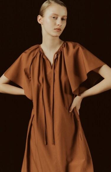 shirring block tie dress