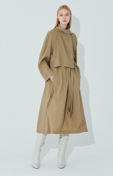 trench belted simple scarf neck dress