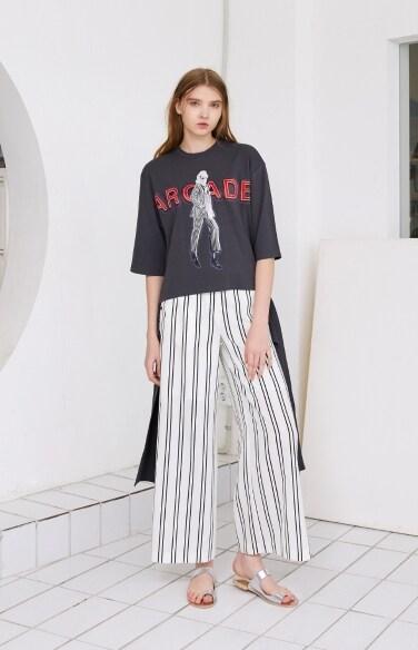 stripe wide-leg slit pants