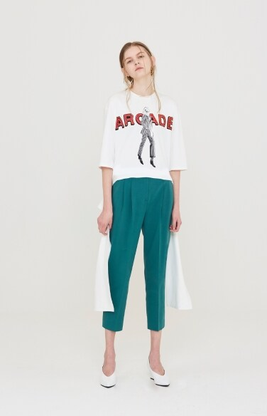 green cotton twill pants