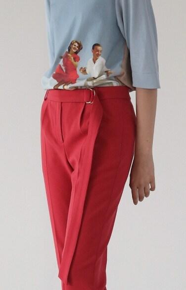 belted slim fit pants