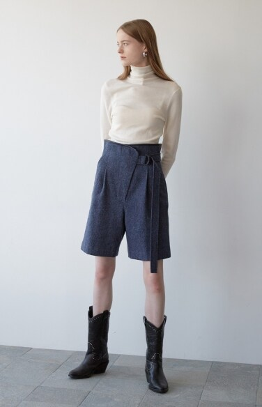 herringbone wool shorts