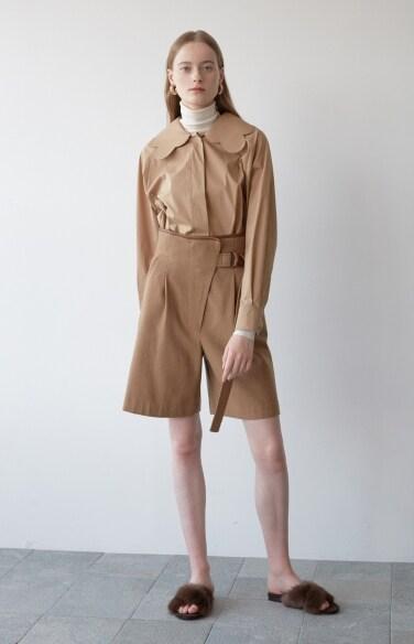 camel wool shorts