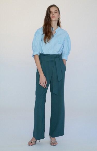 wrap pleats pants