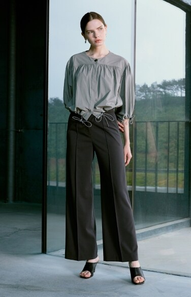 mannish-pintuck wide pants