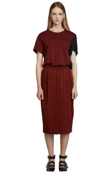 striped tuck skirt