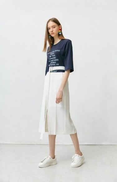 detachable belt midi skirt