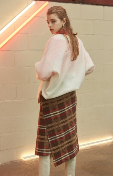 multi-color check wrap skirt