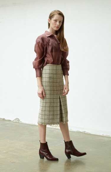 pleat tweed skirt (Fabric from Italy)