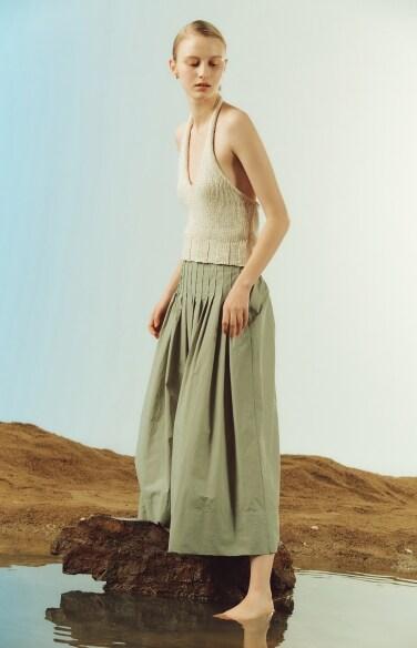 pleats flare long skirt