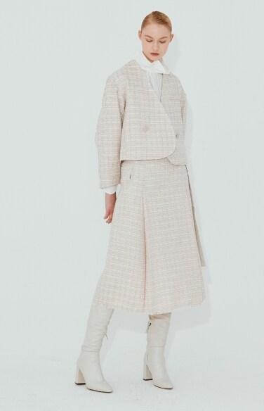 tweed belted skirt
