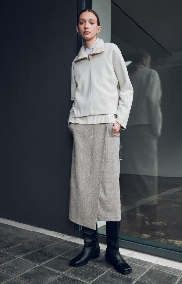 melange unbalance slit long skirt