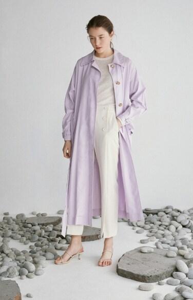 color linen trench coat