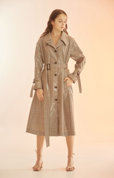 glossy check trench coat