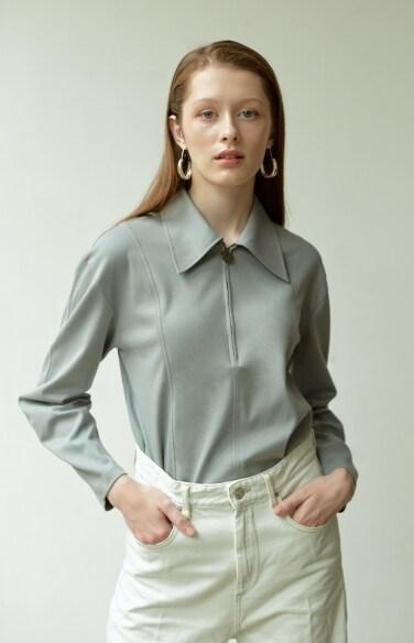 zip-up jersey shirt