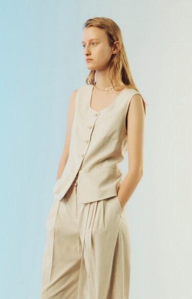 linen classic tailored suit vest