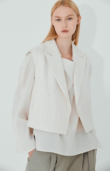 peaked lapel tweed vest